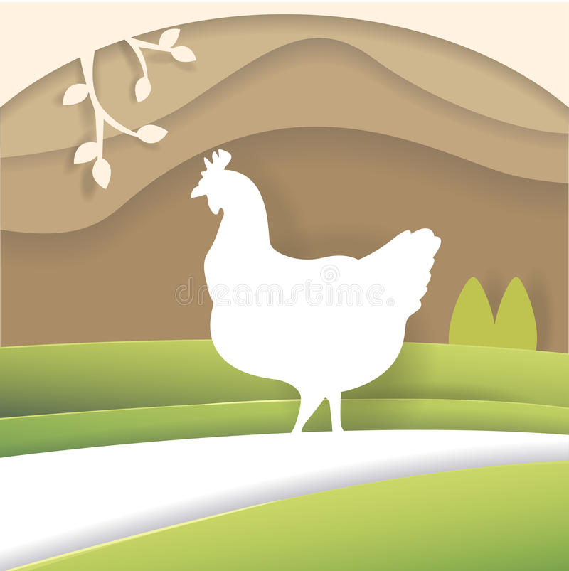 Σκιαγραφία του κοτόπουλου διανυσματική απεικόνιση
