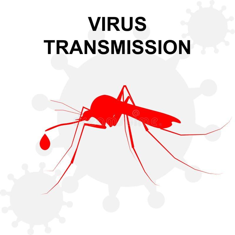 Σκιαγραφία του κουνουπιού με την πτώση του αίματος ελεύθερη απεικόνιση δικαιώματος