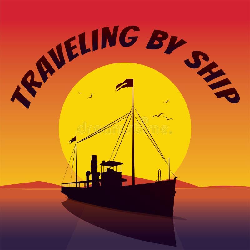 Σκιαγραφία του κρουαζιερόπλοιου, πανιά στο ηλιοβασίλεμα απεικόνιση αποθεμάτων