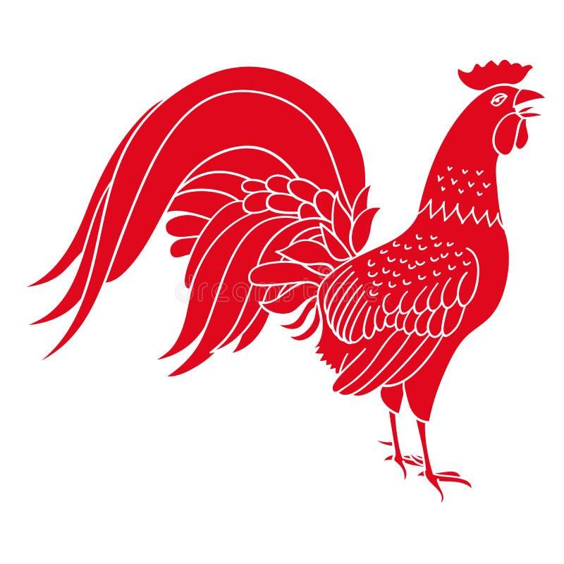 Σκιαγραφία του κόκκινου κόκκορα Συρμένες χέρι απεικονίσεις σχεδίου ύφους διανυσματική απεικόνιση