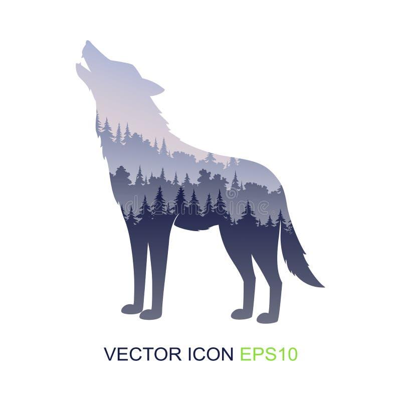 Σκιαγραφία του λύκου άγριο δάσος τραγουδιού φύσης αγάπης αγριόγαλλων διανυσματικός Ιστός λογότυπων σφαιρών wildlife άγριος λύκος  διανυσματική απεικόνιση