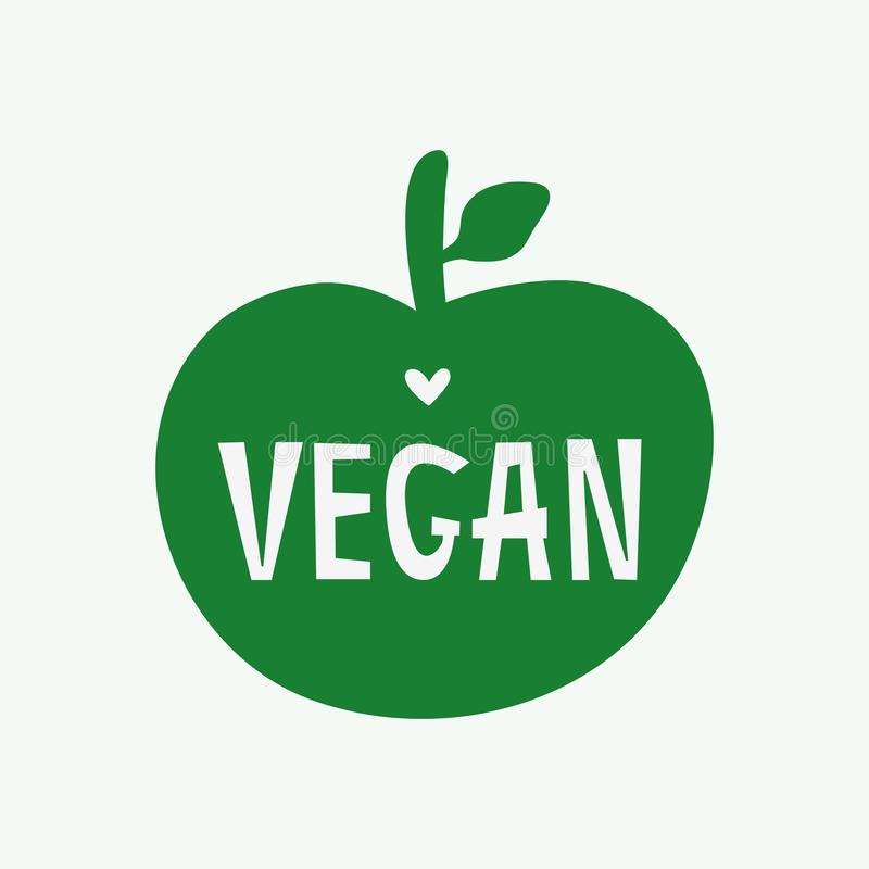 Σκιαγραφία του μήλου με το κείμενο Vegan και την καρδιά Χορτοφάγο λογότυπο, τυπωμένη ύλη, αυτοκόλλητη ετικέττα, σύμβολο, ετικέτα, ελεύθερη απεικόνιση δικαιώματος