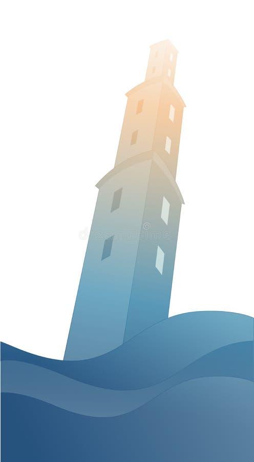 Σκιαγραφία του μεγάλου πύργου πέρα από την οργιμένος θάλασσα, κάτω από τη θύελλα και βλαμμένος από την αστραπή, που απομονώνεται  διανυσματική απεικόνιση