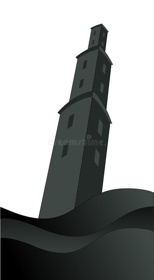 Σκιαγραφία του μεγάλου πύργου πέρα από την οργιμένος θάλασσα, κάτω από τη θύελλα και βλαμμένος από την αστραπή, που απομονώνεται  απεικόνιση αποθεμάτων