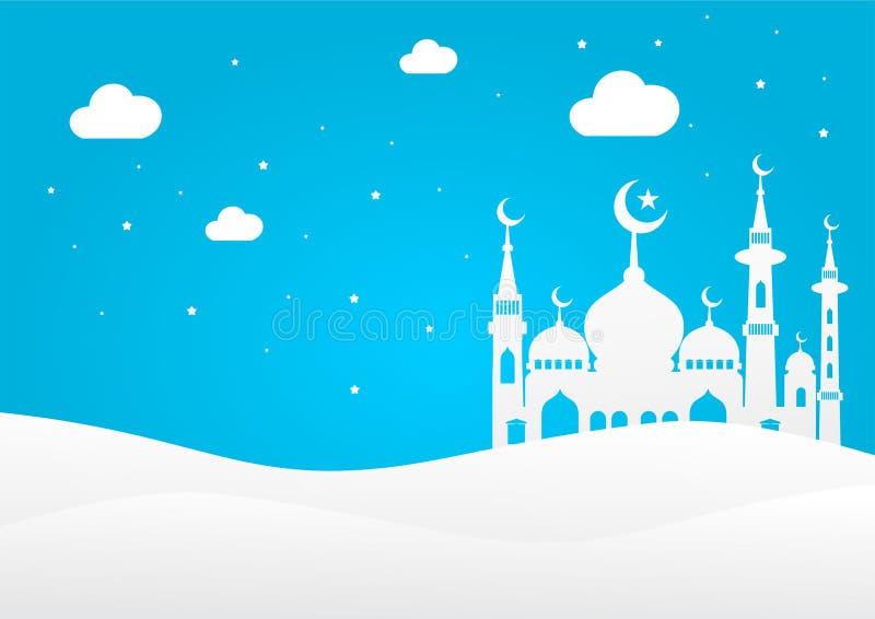 Σκιαγραφία του μουσουλμανικού τεμένους στην έρημο ελεύθερη απεικόνιση δικαιώματος