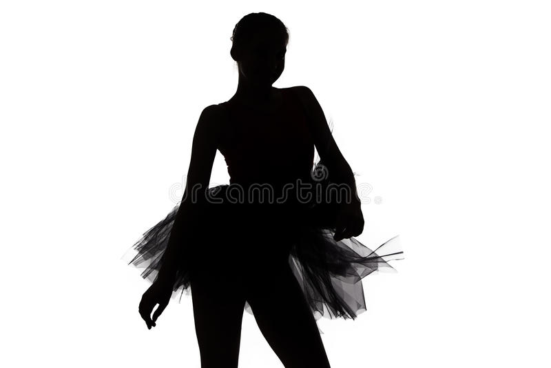 Σκιαγραφία του νέου κοριτσιού χορευτών στοκ εικόνες με δικαίωμα ελεύθερης χρήσης