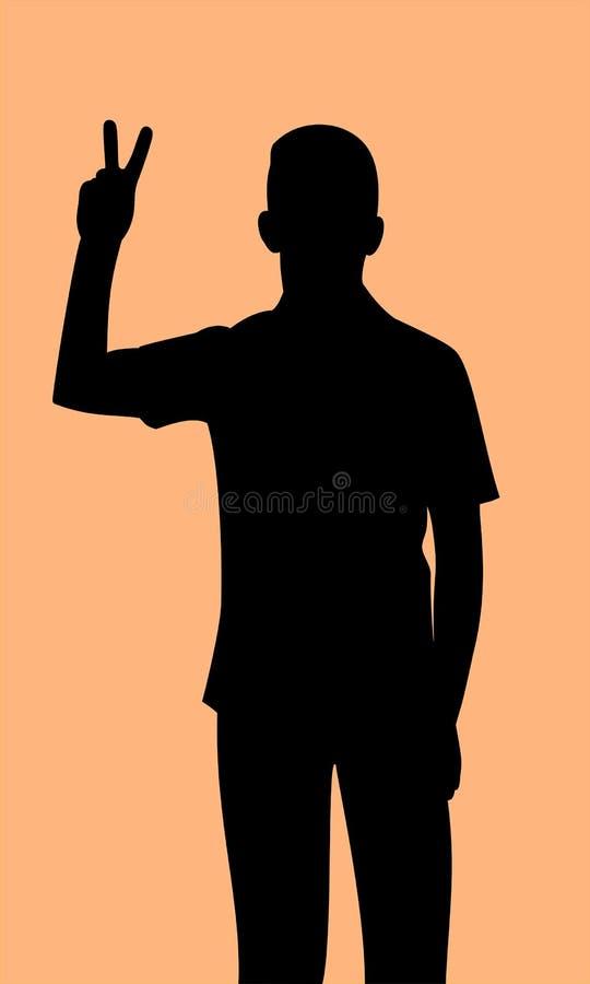 Σκιαγραφία του νεαρού άνδρα που παρουσιάζει σημάδι αντίχειρων της νίκης, μαύρο απεικόνιση αποθεμάτων