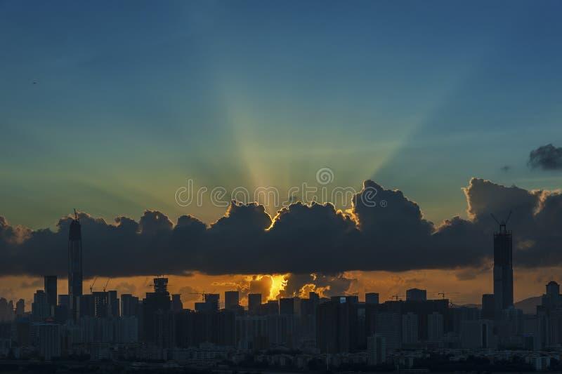Σκιαγραφία του ορίζοντα της πόλης Shenzhen, Κίνα στοκ φωτογραφία με δικαίωμα ελεύθερης χρήσης