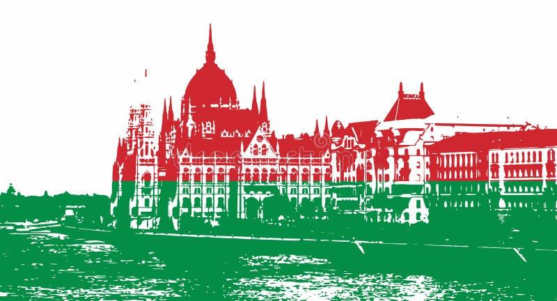 Σκιαγραφία του ουγγρικού Κοινοβουλίου που γεμίζουν με τα εθνικά χρώματα διανυσματική απεικόνιση
