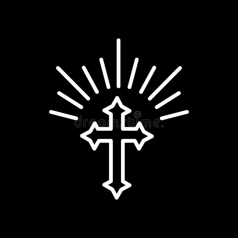 Σκιαγραφία του περίκομψου σταυρού με τα φω'τα ήλιων Ευτυχής απεικόνιση ή ευχετήρια κάρτα έννοιας Πάσχας Θρησκευτικό σύμβολο διανυσματική απεικόνιση