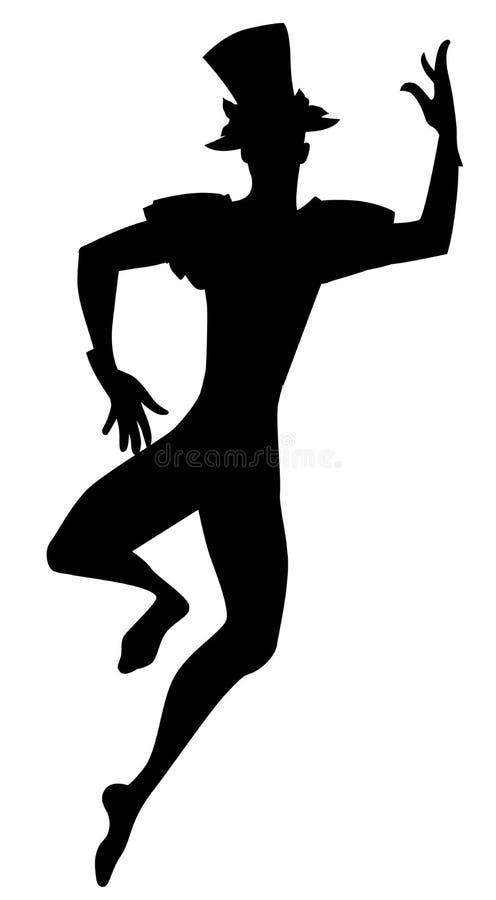 Σκιαγραφία του πλακατζή χορευτών με το τοπ χορό καπέλων που απομονώνεται στο άσπρο υπόβαθρο απεικόνιση αποθεμάτων