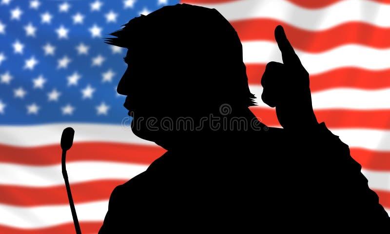 Σκιαγραφία του Προέδρου των Ηνωμένων Πολιτειών της Αμερικής Ντόναλντ Τραμπ στοκ εικόνα
