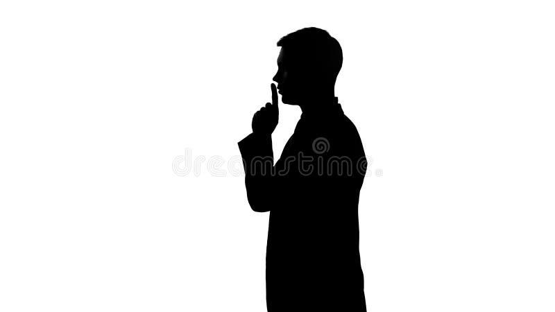 Σκιαγραφία του προσώπου που παρουσιάζει χειρονομία της σιωπής, λογοκρισία, εμπιστευτικά στοιχεία διανυσματική απεικόνιση
