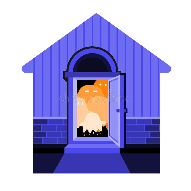 Σκιαγραφία του σπιτιού με τα πορτοκαλιά φαντάσματα Διανυσματική εικόνα αποκριών απεικόνιση αποθεμάτων