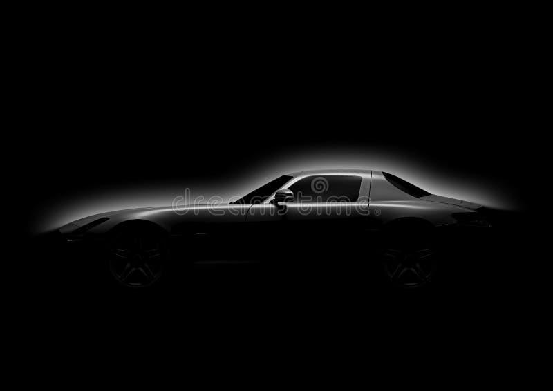 Σκιαγραφία του σπορ αυτοκίνητο σε ένα σκοτεινό υπόβαθρο στοκ φωτογραφία