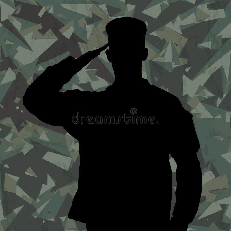 Σκιαγραφία του στρατιώτη χαιρετισμού στο πράσινο υπόβαθρο κάλυψης στρατού διανυσματική απεικόνιση