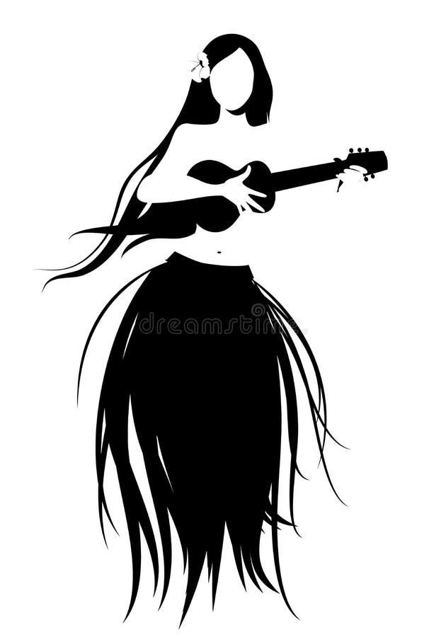 Σκιαγραφία του της Χαβάης κοριτσιού που φορά τη φούστα των φύλλων που παίζουν ukulele διανυσματική απεικόνιση