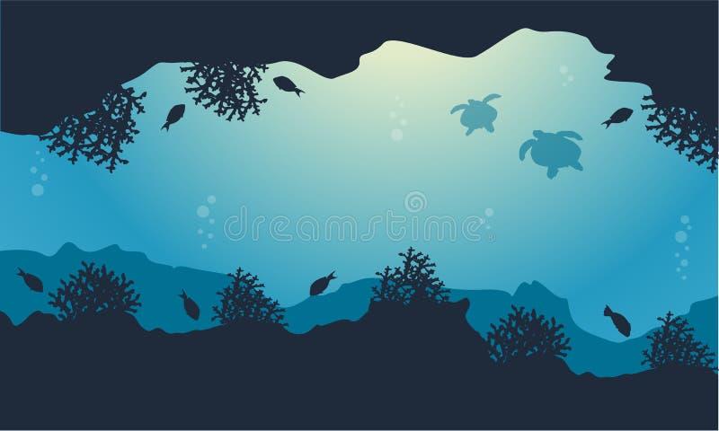 Σκιαγραφία του τοπίου ομορφιάς ψαριών και χελωνών ελεύθερη απεικόνιση δικαιώματος