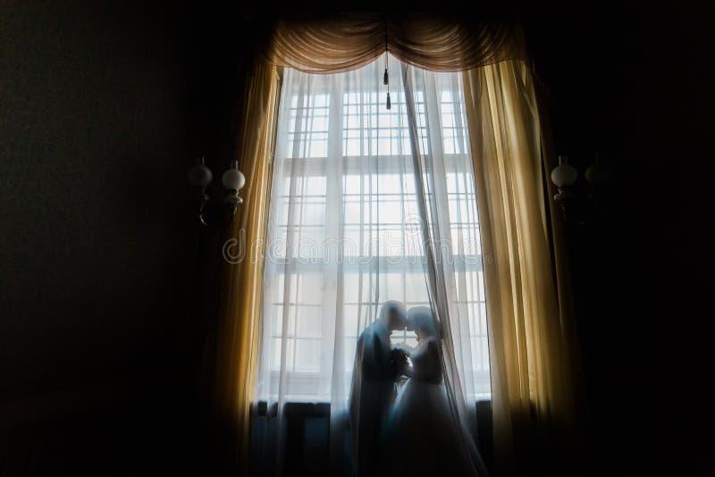 Σκιαγραφία του φιλήματος νυφών και νεόνυμφων ενάντια στο παράθυρο με τις κουρτίνες στοκ φωτογραφίες με δικαίωμα ελεύθερης χρήσης