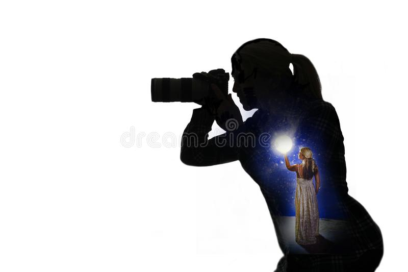 Σκιαγραφία του φωτογράφου στοκ φωτογραφίες