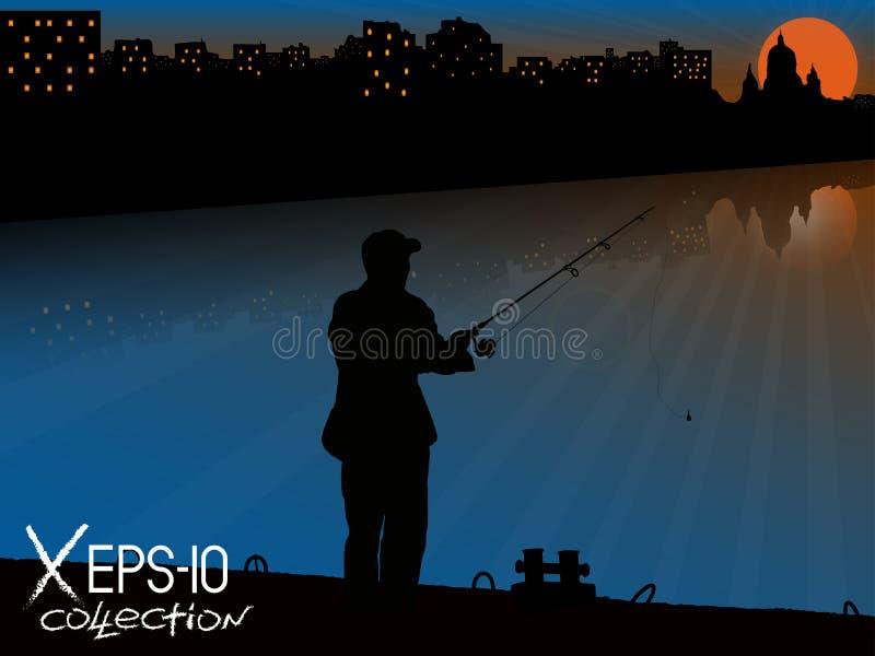 Σκιαγραφία του ψαρά με την αλιεία της ράβδου στην αποβάθρα που αλιεύει στο υπόβαθρο της πόλης νύχτας απεικόνιση αποθεμάτων