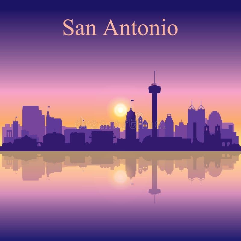Σκιαγραφία του San Antonio στο υπόβαθρο ηλιοβασιλέματος απεικόνιση αποθεμάτων