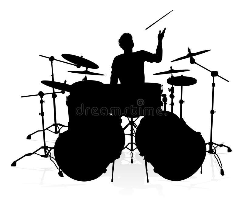 Σκιαγραφία τυμπανιστών μουσικών ελεύθερη απεικόνιση δικαιώματος