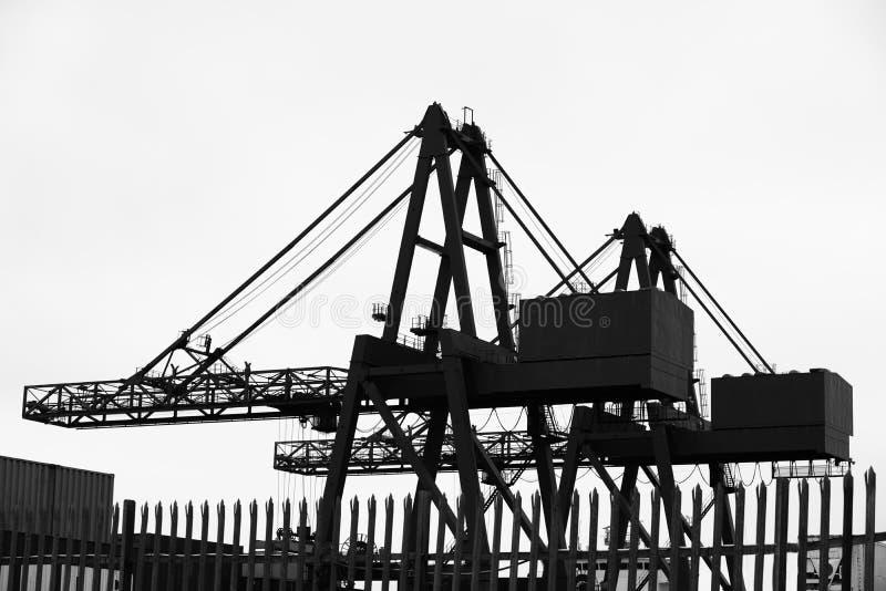 Σκιαγραφία των γερανών για τα εμπορευματοκιβώτια και cantilever μεταφορών ναυπηγικής το γερανό στοκ φωτογραφία με δικαίωμα ελεύθερης χρήσης
