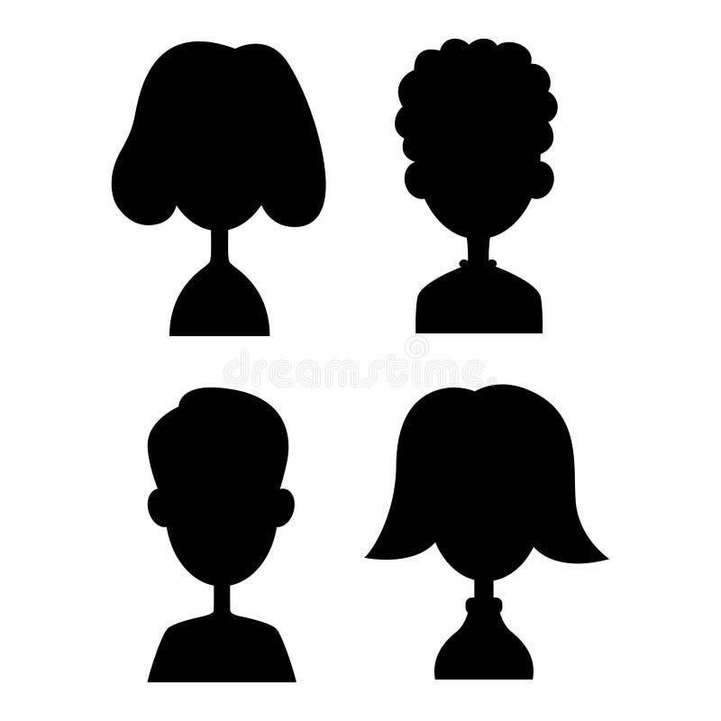 Σκιαγραφία των διανυσματικών παιδιών που τίθεται στο άσπρο υπόβαθρο απομονωμένη έφηβοι απεικόνιση ελεύθερη απεικόνιση δικαιώματος