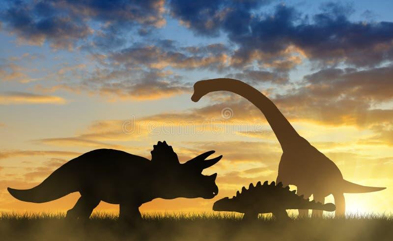 Σκιαγραφία των δεινοσαύρων στοκ εικόνες με δικαίωμα ελεύθερης χρήσης