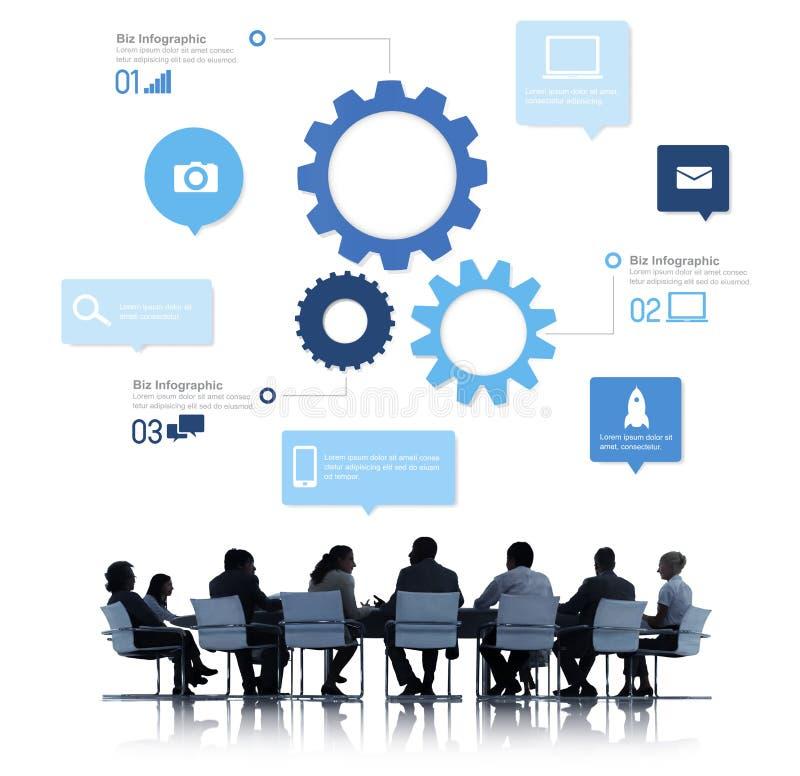 Σκιαγραφία των επιχειρηματιών που συναντούν Infographic στοκ εικόνα