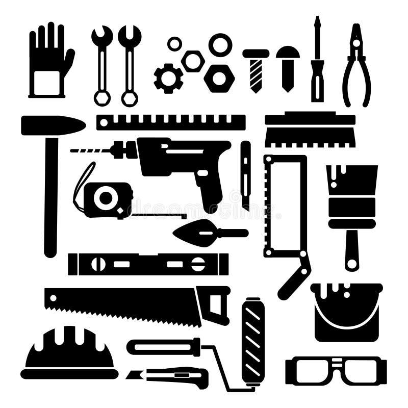 Σκιαγραφία των εργαλείων κατασκευής ή επισκευής Διανυσματικό μαύρο σύνολο εικονιδίων απεικόνιση αποθεμάτων