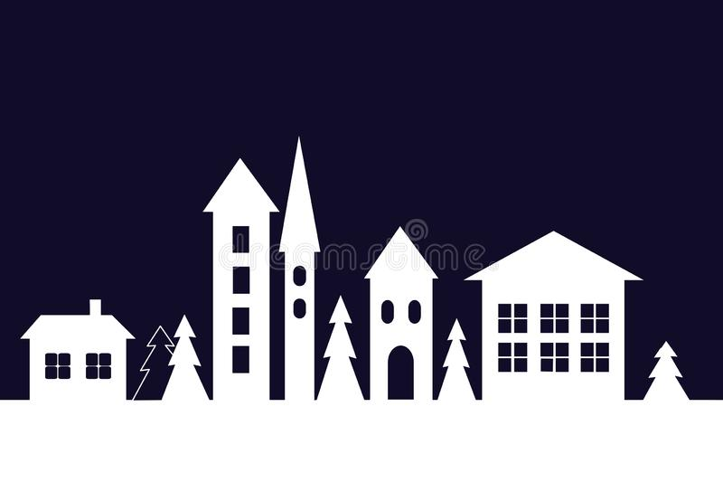 Σκιαγραφία των σπιτιών στη χειμερινή πόλη διανυσματική απεικόνιση