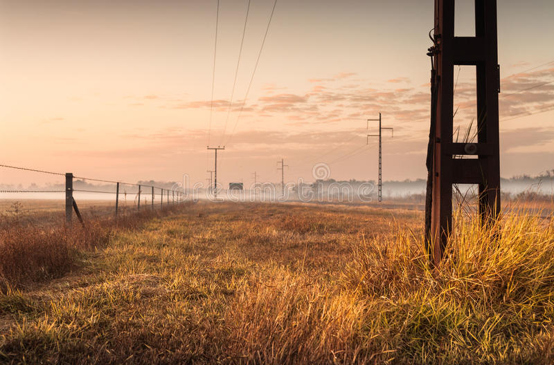 Σκιαγραφία των τηλεφωνικών πυλώνων στον εσωτερικό στην αυγή Δαρβίνος, Α στοκ φωτογραφία