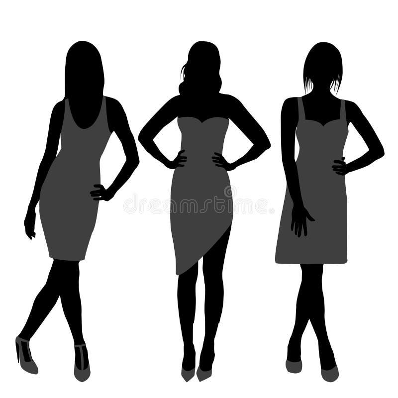Σκιαγραφία των τοπ προτύπων κοριτσιών μόδας ελεύθερη απεικόνιση δικαιώματος