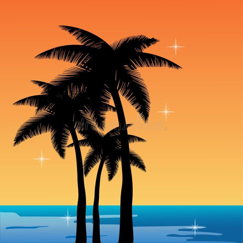 Σκιαγραφία των φοινίκων ενάντια στη θάλασσα και το πορτοκαλί αστέρι ηλιοβασιλέματος ελεύθερη απεικόνιση δικαιώματος