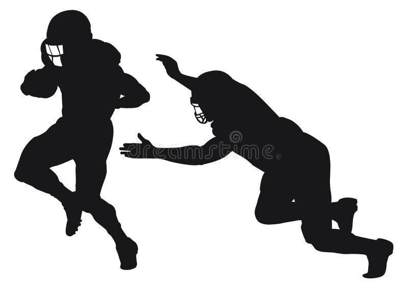Σκιαγραφία των φορέων αμερικανικού ποδοσφαίρου που πιάνουν και που τρέχουν διανυσματική απεικόνιση