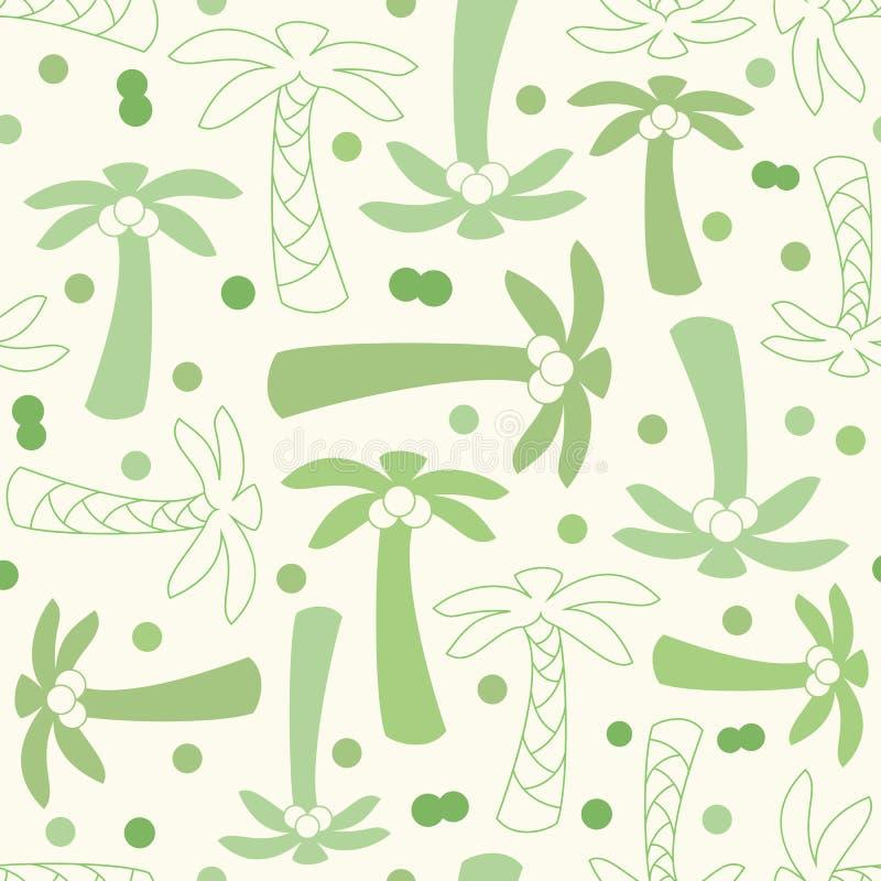 Σκιαγραφία φοινίκων καρύδων και άνευ ραφής σχέδιο περιλήψεων απεικόνιση αποθεμάτων