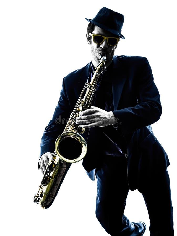 Σκιαγραφία φορέων saxophone παιχνιδιού saxophonist ατόμων στοκ εικόνα
