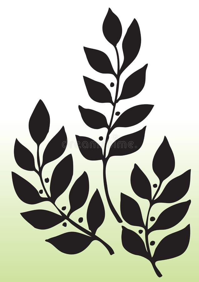 Σκιαγραφία φύλλων απεικόνιση αποθεμάτων