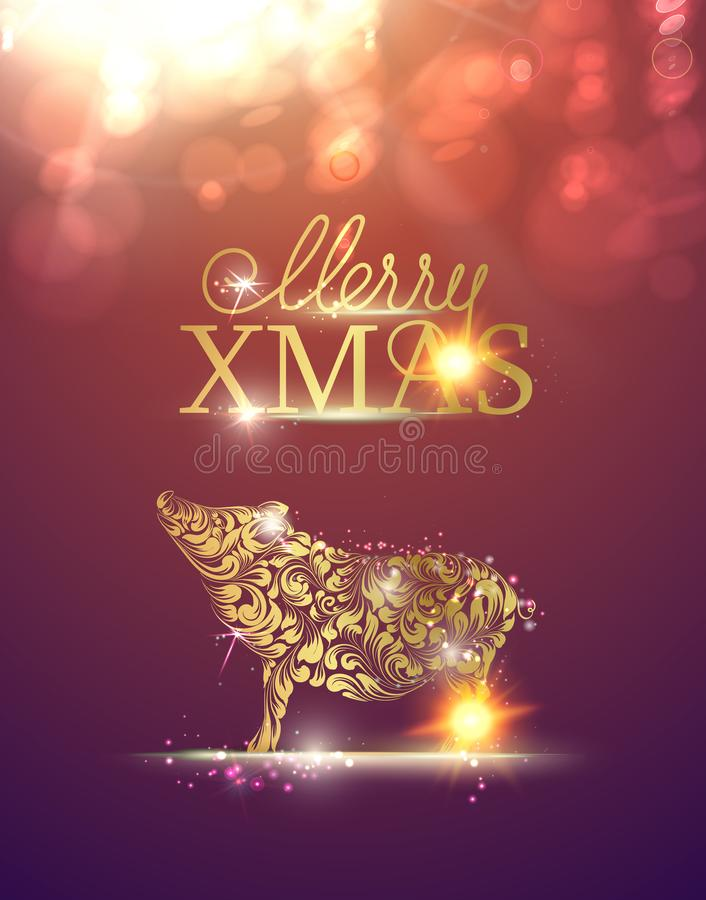 Σκιαγραφία χοίρων πέρα από την πορφυρή εύθυμη κάρτα Χριστουγέννων διανυσματική απεικόνιση
