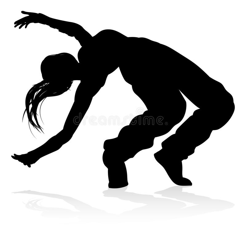 Σκιαγραφία χορευτών χορού οδών απεικόνιση αποθεμάτων