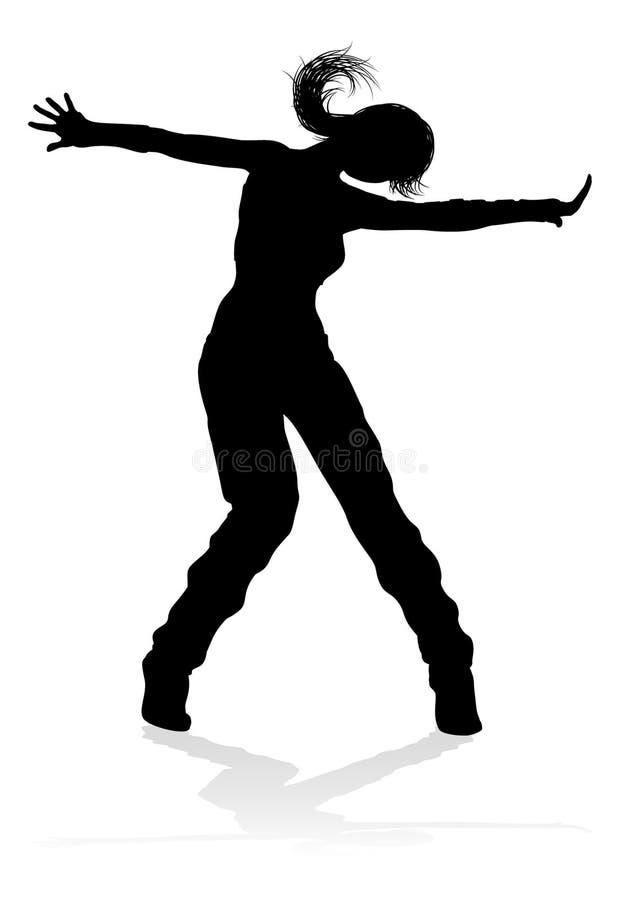 Σκιαγραφία χορευτών χορού οδών διανυσματική απεικόνιση