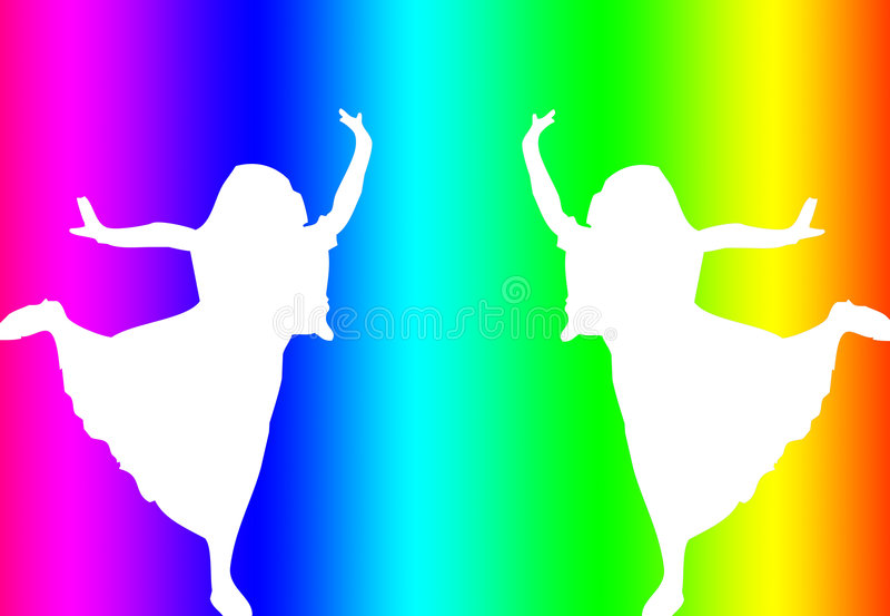 σκιαγραφία χορευτών διανυσματική απεικόνιση