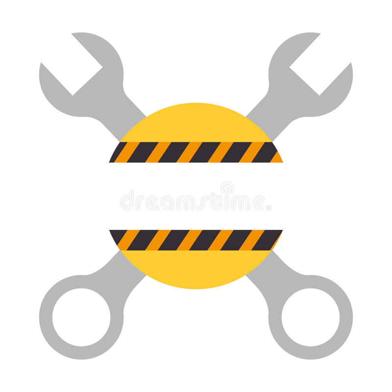 Σκιαγραφία χρώματος με τα διασχισμένες γαλλικά κλειδιά και τη γραμμή προειδοποίησης ελεύθερη απεικόνιση δικαιώματος