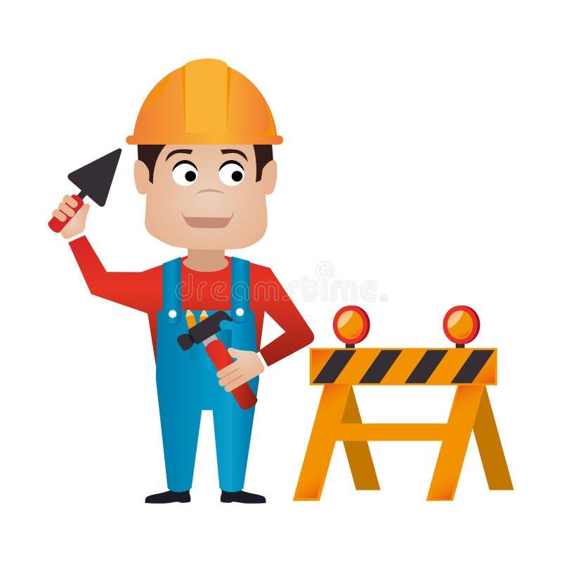 Σκιαγραφία χρώματος με τον εργαζόμενο με το κράνος και κλειστό τον εμπόδιο δρόμο διανυσματική απεικόνιση