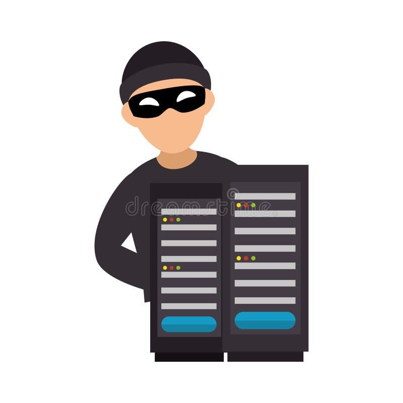 Σκιαγραφία χρώματος με τον κεντρικό υπολογιστή χάκερ και πύργων ελεύθερη απεικόνιση δικαιώματος