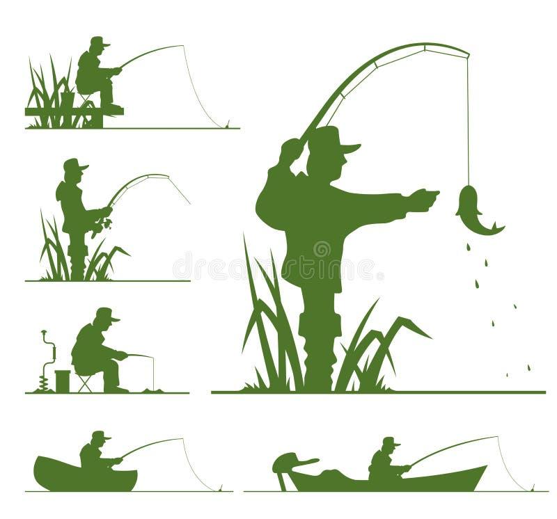 σκιαγραφία ψαράδων διανυσματική απεικόνιση