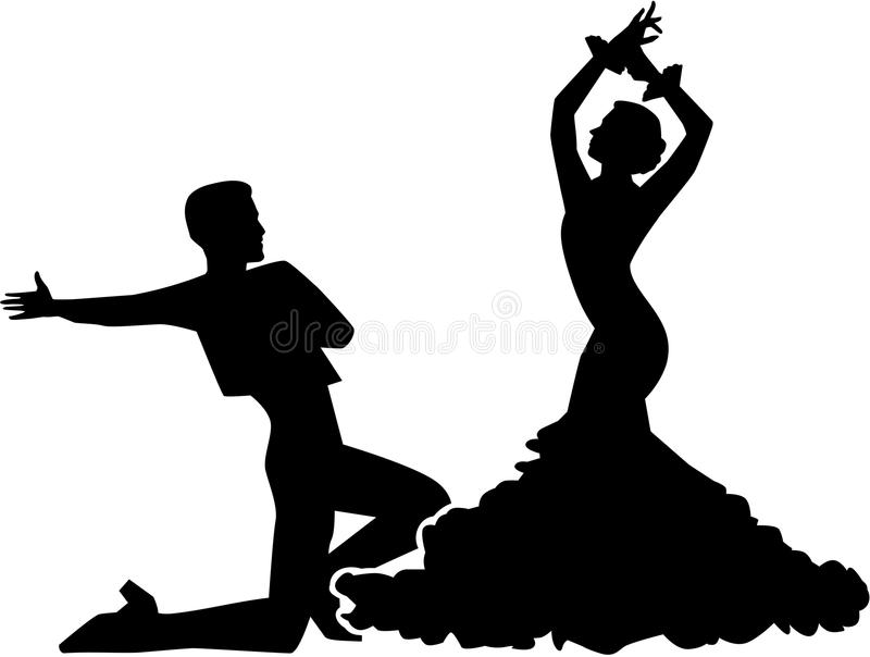 Σκιαγραφία flamenco του χορεύοντας ζεύγους απεικόνιση αποθεμάτων