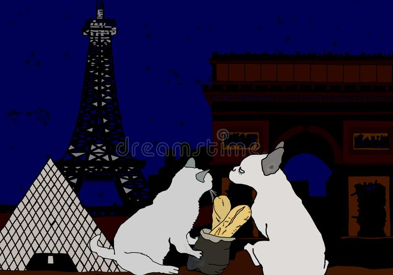 Σκιαγραφία Margot και καβγατζής στο Παρίσι με τον πύργο του Άιφελ και το μουσείο ανοιγμάτων εξαερισμού απεικόνιση αποθεμάτων